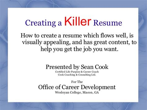 creating a killer resume
