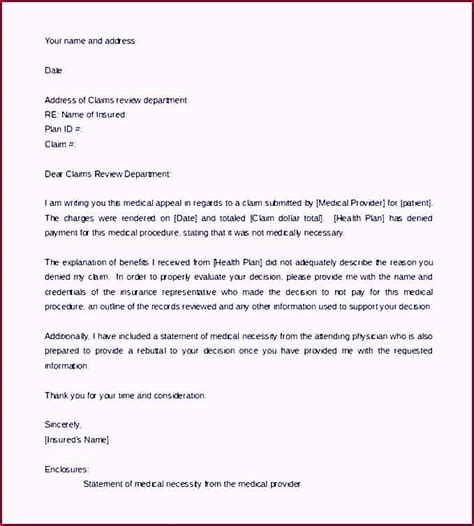 Insurance Necessity Letter Appeal Letter Template For Necessity Word Format Template Update234 Template
