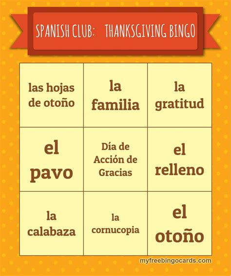 free printable spanish thanksgiving cards 17 best images about bingo teaching resources on