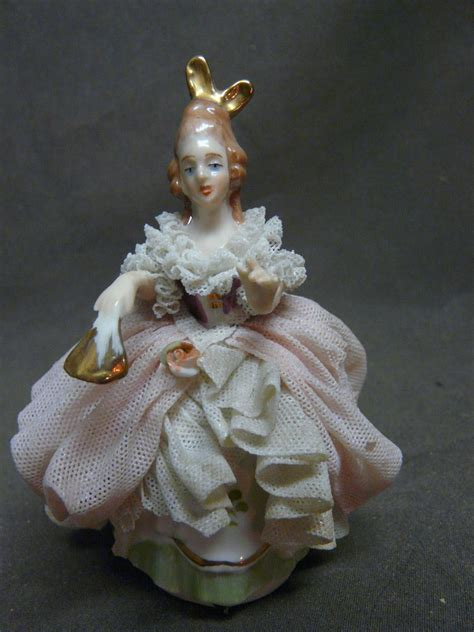 dresden art german lace figurine  happyhoundantiques