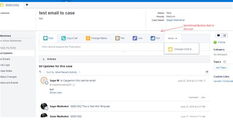 email layout salesforce send an email button not visible on case feed page