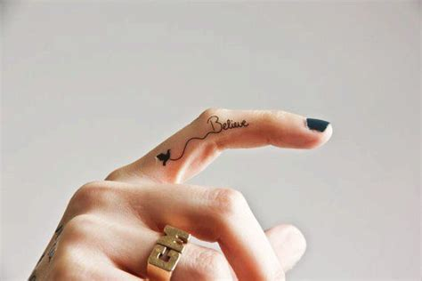 tattoo on finger believe 40 awesome finger tattoos tattoos pinterest