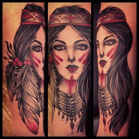 old school tattoo indian girl arm old school indian tattoo by sarah b bolen