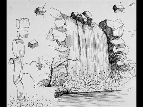 pen doodle um pen ink drawing tutorials how to draw a waterfall