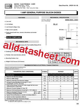 1n4001 smd diode datasheet 1n4001 datasheet pdf diotec electronics corporation