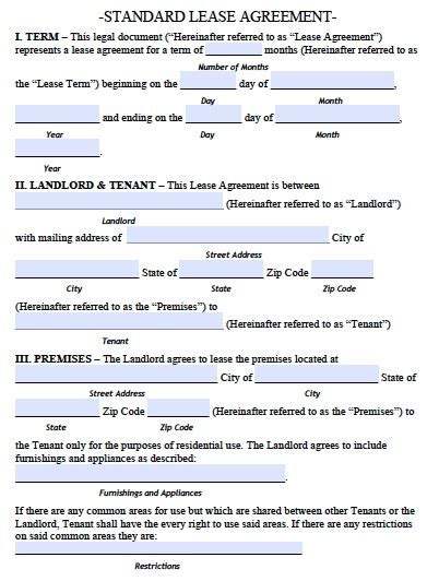 Standard Commercial Lease Agreement Template Free Arkansas Standard Residential Lease Agreement Pdf