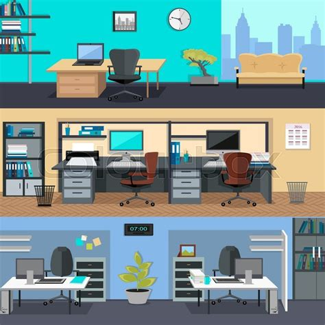 office set design set of modern office interior with designer desktop in