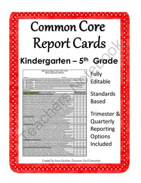 common core report cards  kindergarten   grade fully editable  common core