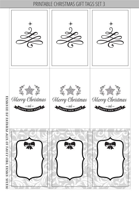 6 best images of black and white printable christmas gift