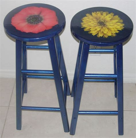 Decoupage Stool - decoupaged stools decoupage