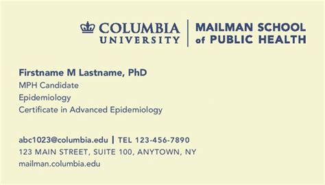 graduate student business cards template student business cards columbia mailman