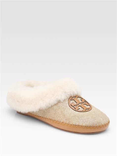 burch slippers burch coley metallic powder suede and shearling