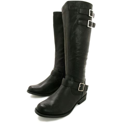 buy clare flat buckle knee high biker boots black