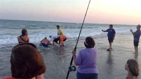 boat r emerald isle nc man reels in a 100 inch shark at emerald isle youtube