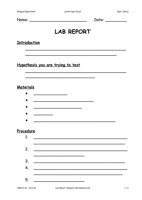 report format template lab report format