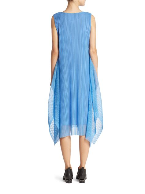 issey miyake light blue pleats please issey miyake tulle overlay dress in blue lyst