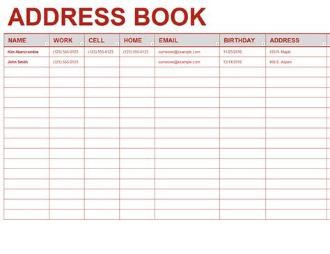 card address list template registros office