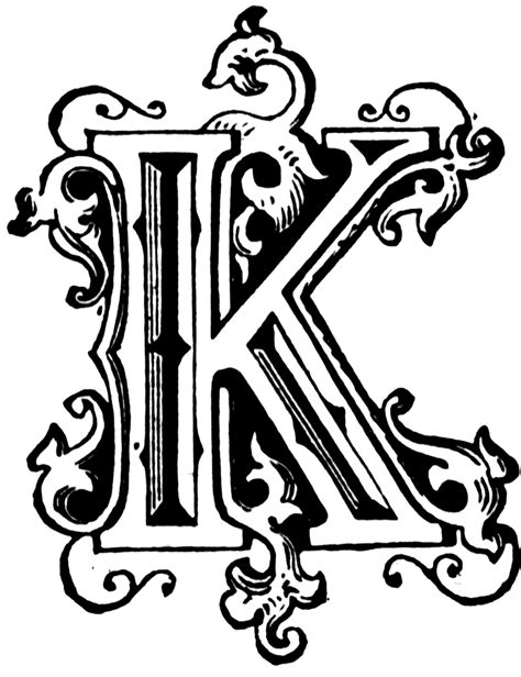 Drawing K On Style by K Ornamental Letter Clipart Etc