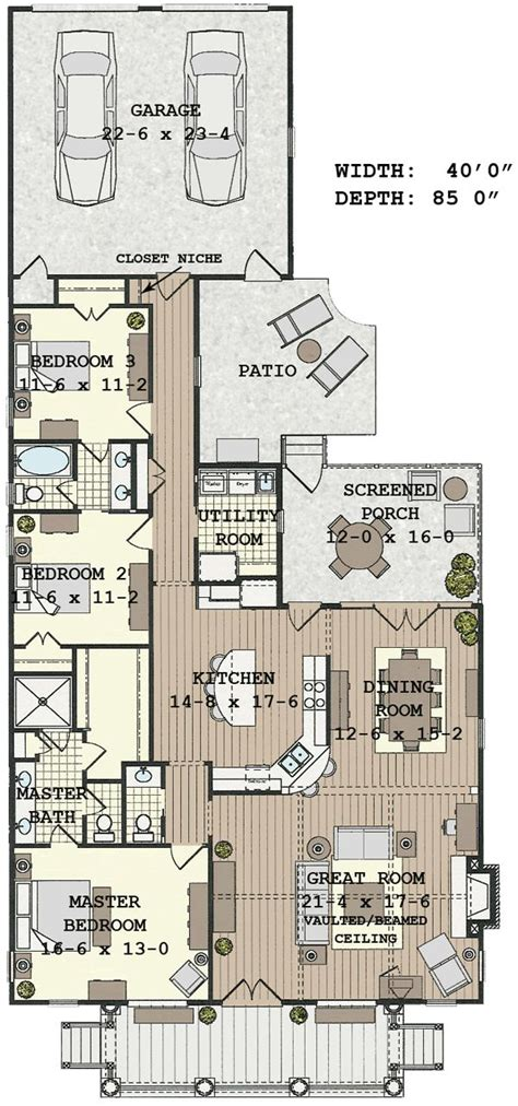 small lot house plans floorplan