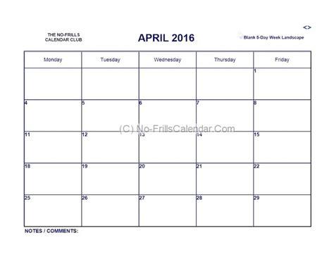 free 5 day calendar template blank calendar 5 day week 2018 calendar template design