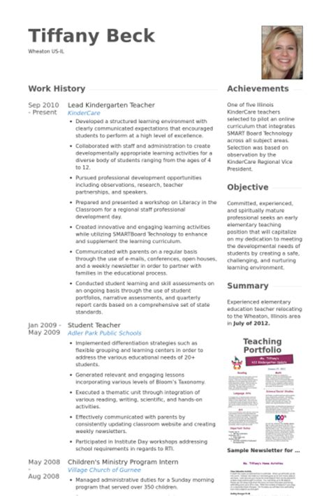 Resume Template Kindergarten by Kindergarten Resume Sles Visualcv Resume