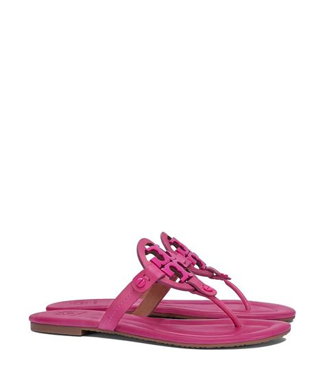 burch pink sandals burch miller sandal leather in pink lyst