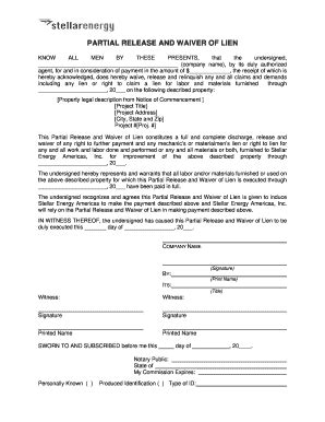 Fillable Free Partial Waiver Of Lien Form Download Templates In Pdf Illinois Final Waiver Of Partial Waiver Of Lien Template