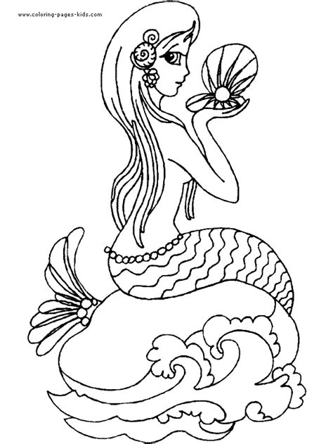 Mermaid color page   Coloring pages for kids   Fantasy
