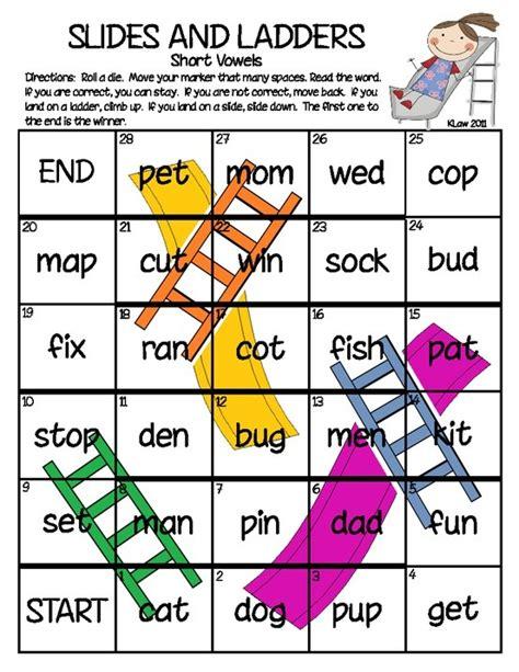 printable short vowel board games short vowels slides and ladders game winter
