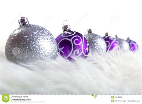 purple and silver christmas baubles stock photo image