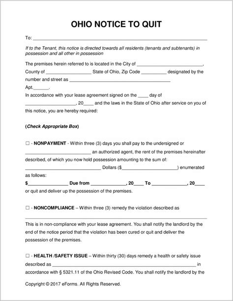 Notice Of Eviction Form Ohio Form Resume Exles Eop274ozmj Ohio State Resume Template