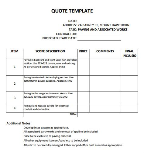 quotes template quotation template 14 free documents in pdf