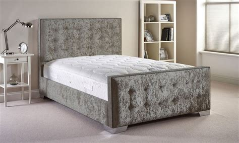 Bed Frame And Mattress Deals Uk Handcrafted Fabric Bed Frame Groupon Goods