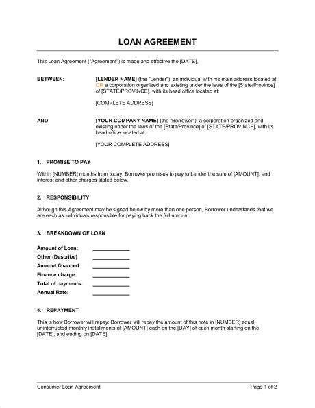 Loan Agreement Template Sle Form Biztree Com Personal Loan Agreement Template Microsoft Word