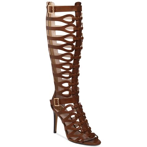gladiator boots lyst vince camuto omera gladiator heel sandals in brown