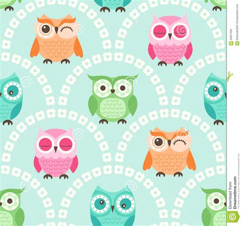 owl pattern vector free download seamless cartoon owls background pattern stock vector