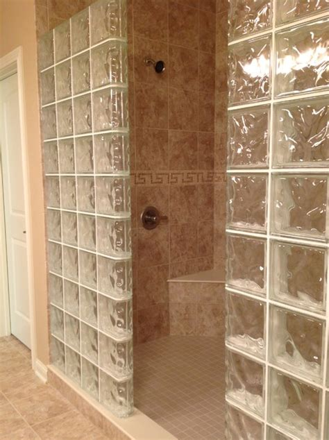 Bathroom Glass Tile Designs by Glass Block Shower Wall Dublin Ohio Mediterranean