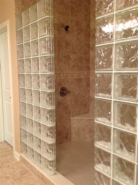 Glass block shower wall dublin ohio mediterranean bathroom cleveland by innovate