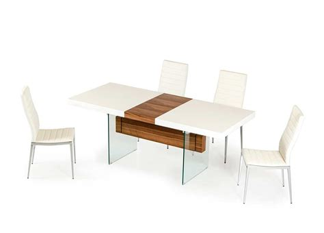 Floating Bookcases White And Walnut Extendable Dining Table Vg001 Modern Dining