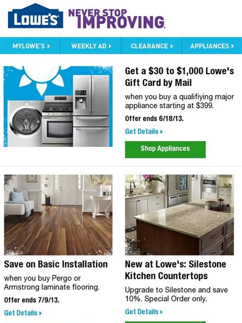 lowes get a 30 to 1 000 lowe s gift card by mail milled
