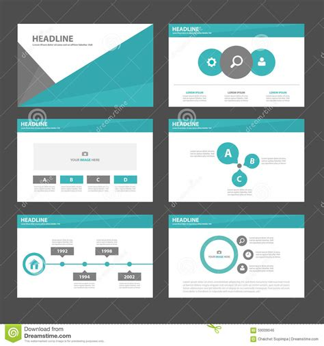 brochure flat design 6 green black polygon infographic element and icon