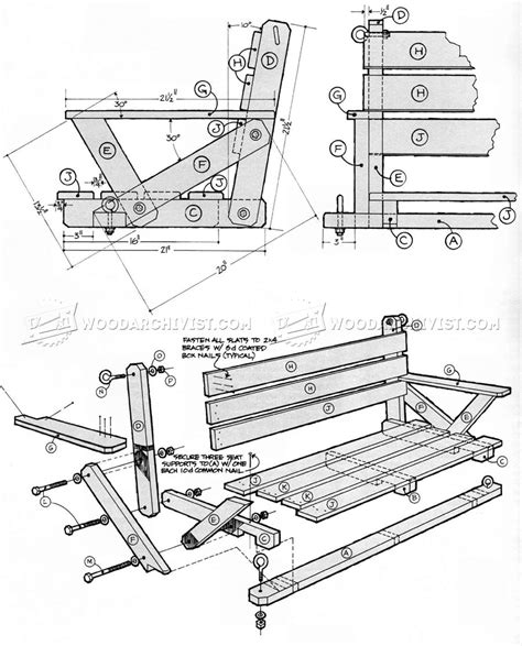 swing blueprints porch swing plans woodarchivist