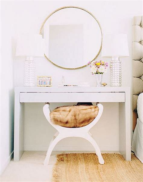 white vanity desk micke from ikea with large mirror