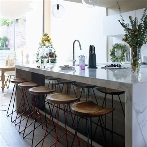White Marble Kitchen Island Modern Kitchen With White Marble Island Modern Decorating Ideas Housetohome Co Uk