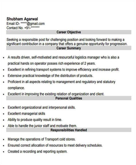 Technical Executive Resume Sles logistics resume sles 28 images logistics manager cv