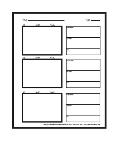 vertical storyboard template vertical storyboard sles 6 exles in pdf