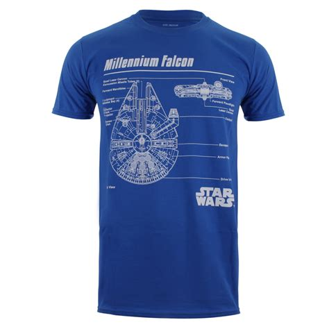 cgv star wars merchandise star wars men s millennium falcon blueprint t shirt