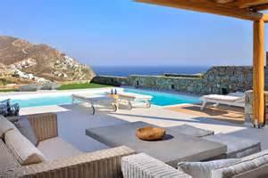 Rustic Outdoor Fireplaces - greek mediterranean style villa in mykonos with modern charm idesignarch interior design