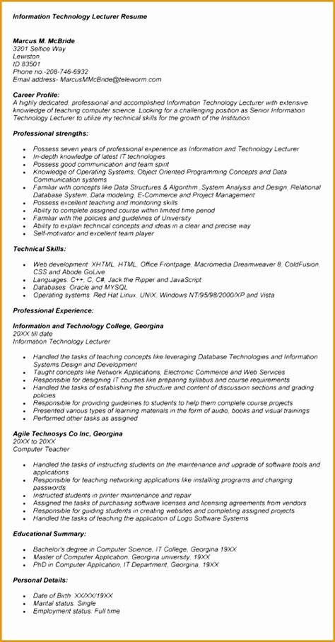 resume format for freshers lecturer post free 9 resume format for fresher free sles exles