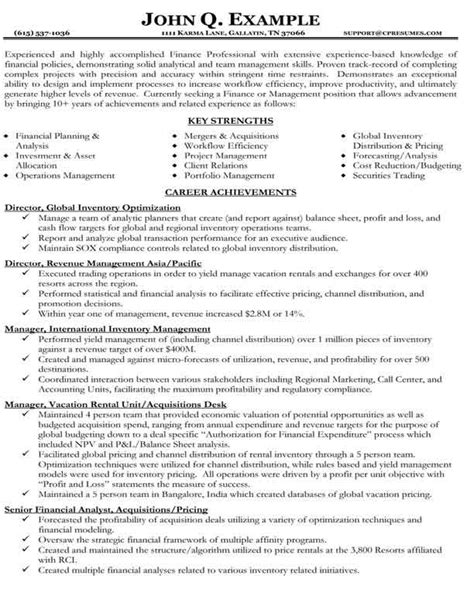 resume template finance resume sles types of resume formats exles and